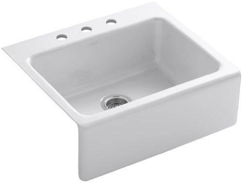 KOHLER K-6573-3-0 Alcott Apron-Front, Tile-In Kitchen Sink, White