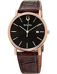 (Bulova Men's Rose Gold Tone Date Watch with a Leather Strap )