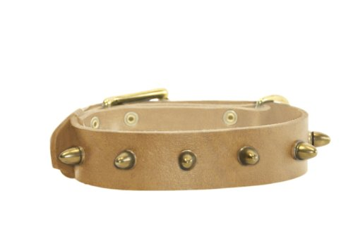 Dean & Tyler The Bullet Leather Collar for Dogs, 36 to 40-Inch by 1-1/2-Inch, Tan