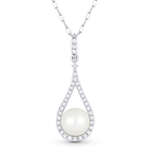 Pearl Gemstone & Accented Diamond Pendant-Necklace Set In 14K White-Gold (0.1 Gemstones Ct)