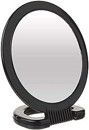 Diane Espelho portátil de plástico – Espelho de penteadeira de 2 lados com alça circular dobrável e suporte pa
