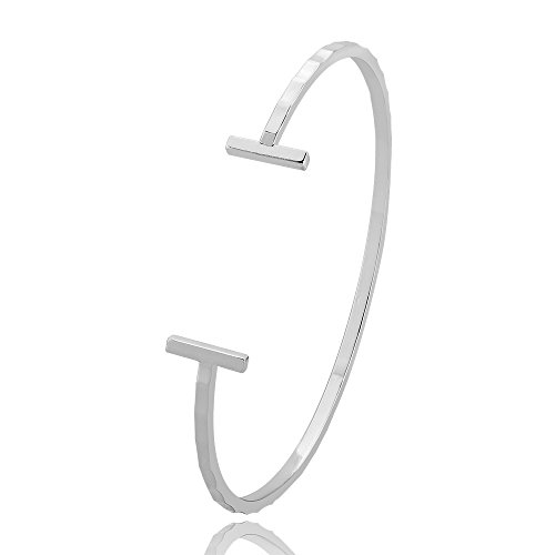 BEICHUANG Simply Bamboo Joint T Letter End Bangle Bracelet (silver) (Silver Bangle Bracelet Bamboo)