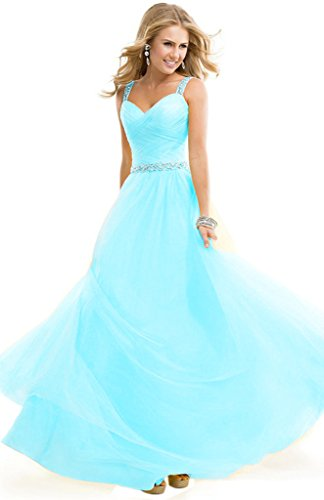Aurora Prom Gown (Aurora Bridal A-Line Chiffon Straps Bridesmaid Dresses Long Prom Gown Light Blue,10)