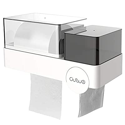 DSWE Toilet Paper Holder, Waterproof Paper Holder for Wet Bathroom, Wall Mounted Tissue Holder, Minimalist Style Tissue Dispenser & Multi-Functional Storage Box - Ideal for Houses and Apartments
