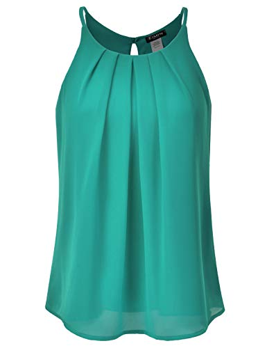 (EIMIN Women's Crewneck Pleated Front Double Layered Chiffon Cami Tank Top Jade 3XL)