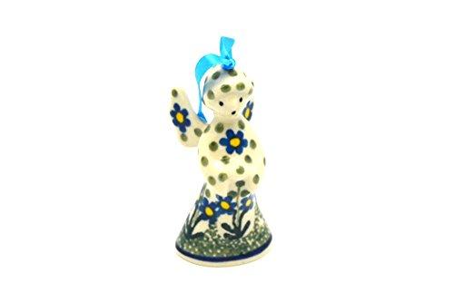 (Polish Pottery Ornament - Angel - Blue Spring Daisy)