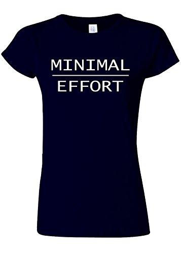 ヶ月目注文文房具Minimal Effort Lazy Person Novelty Navy Women T Shirt Top-S