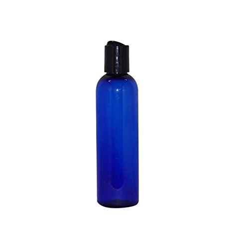 WM (Pack of 24) 4 oz Empty Bottles - Refillable Plastic Container w/Press Disc Cap - PET Plastic Cosmo Bullet Bottle for Travel, Oils, Soap, Shampoo, Lotion, Aromatherapy and More (4 oz, Blue)