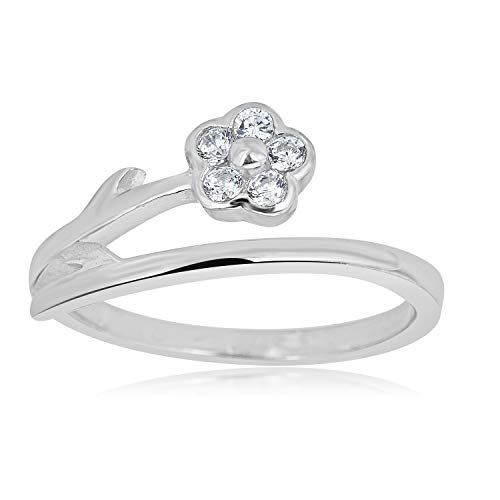 - AVORA 925 Sterling Silver Adjustable Bypass Flower Toe Ring with Simulated Diamond CZ