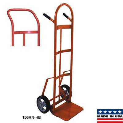 Wesco 210265 Heavy Duty Steel Hand Truck with Swept Back Continuous Handle Curved Back Design, Moldon Rubber Wheels, 800-lb. Load Capacity, 19-5/8