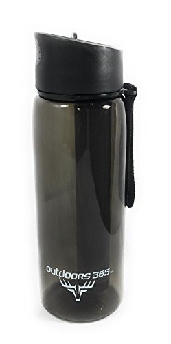 Outdoors365 Travel Water Filter Bottle & Built-In Compass | Portable 2-Stage Drinking Water Purification System | Removes 99.99% Of Harmful Bacteria | Leakproof Reusable Survival Straw Tumbler (Black) (Travel Stage)