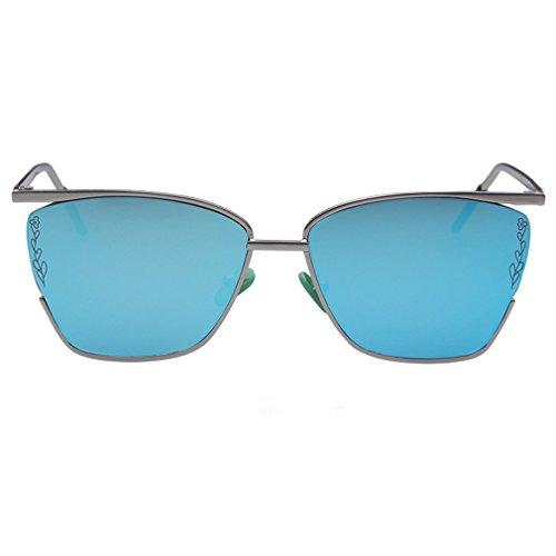 Armear Womens Retro Oversized Metal Frame Flat Square Sunglasses UV400 (Blue, - Flat Face Asian