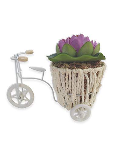 Bicicleta Flor De Lótus Lilás E Cestinha Arranjo Artificial