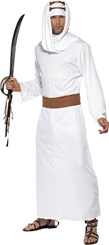 [Smiffy's Men's Lawrence of Arabia Costume, Gown, Headpiece and Belt, Around the World, Serious Fun, Size M,] (Arabian Costumes For Men)