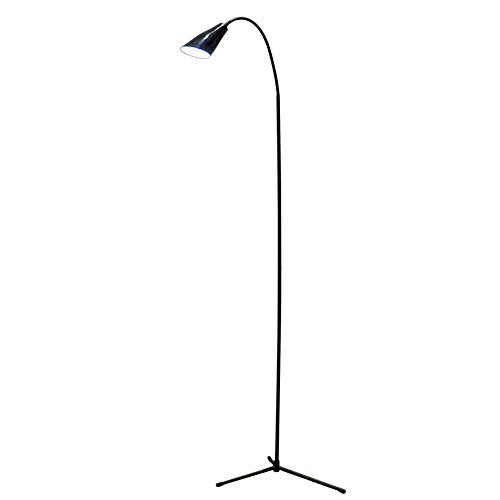 FELICON Dimmable LED Reading Floor Lamp Standing Gooseneck with USB Line 6W 600 Lumens Brightness 3500K Warm Light & 6000K Cool White Light for Livingroom Home Table Work Bedroom (Black) by FELiCON