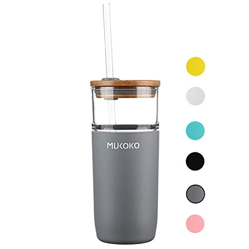 20oz Glass Tumbler with Straw and Lid,Tumbler With Silicone Protective Sleeve and Bamboo Lid - BPA Free Gray (Straw Juice Mug With)