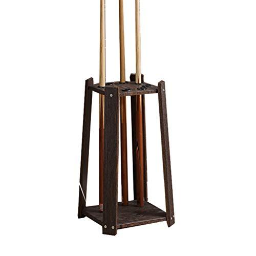 Frjjthchy Floor-Stand Cue Rack Waterproof Wood Billiard Rack Holds 8 Pool Cue Stick (Coffee)