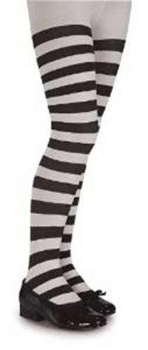 Girls Black and White Striped Tights (Kids Black And White Striped Tights)