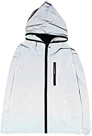 Asibeiul Reflective Jacket Hoodie Zip Sweatshirt Men Women Hi-Vis Hooded Coat Hiking Windbreaker Harajuku Wint