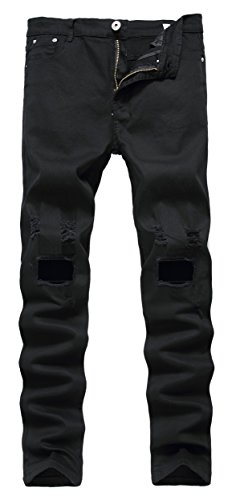 Men's Black Ripped Skinny Distressed Destroyed Slim Jeans Pants with Holes
