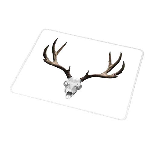 Rectangle Non-Slip Rubber Mouse Pad Antlers Decor,A Deer Skull Skeleton Head Bone Halloween Weathered Hunter Collection,Mousepad Great for Laptop,Computer 9.8