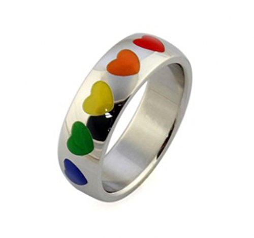 AMDXD Jewelry Titanium Stainless Steel Unisex Fashion Rings Love Heart Patterned Colorful US Size