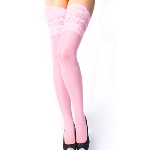 Polytree Women's Floral Lace Top Sheer Thigh High Stockings -