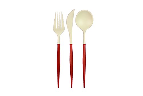 Handle Cutlery - Sophistiplate Elegant Disposable Cutlery- White Flatware with Red Handles- 36 pack, 12 forks, 12 knives, 12 spoons