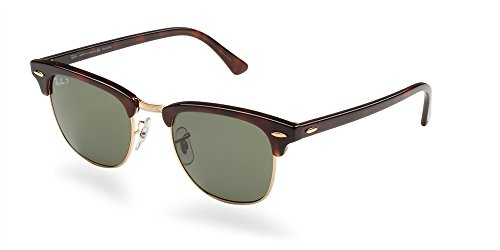 Ray-Ban Authentic Clubmaster RB 3016 990/58 49mm Havana / Green Polarized - Polarized 3016 Ray Ban