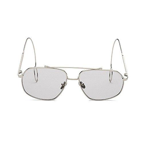 Gafas metal sol fino de sol de de gafas Pendientes sol Unisex Elegante sol Delicadas de UV de Gafas Elegantes de Protección sol Hombre para con gafas mujeres lisas Gris Gafas Personalidad borde Marco gOCwqBYY
