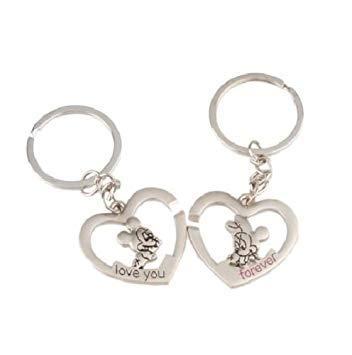 JF Joaillerie Lot DE 2 Porte CLE Disney Mickey Minnie Mouse Amour Coeur Love You Forever Amoureux Couple IDEE Cadeau Porte Clef Amour Saint Valentin