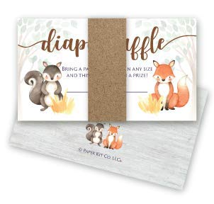 Paper Kit Co. Woodland Creature Baby Shower Diaper Raffle Tickets (50 Pack) Gender Neutral for Girl or Boy - Bring a Pack of Diapers to Win a Prize - Fits Perfectly with Matching Woodland Invitations