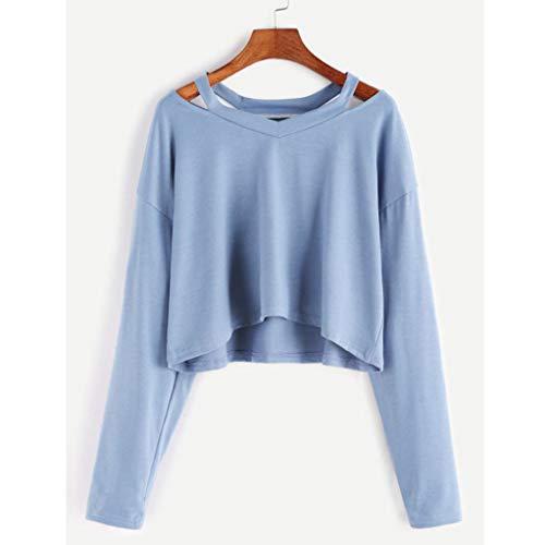 Amazon.com: Big Women Short Sweatshirt Daoroka Long Sleeve Off Shoulder V-Neck Pullover Blouse Tops T-Shirt: Clothing