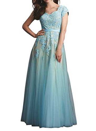 Firose Blue Long Prom Dresses Cap Sleeves Lace Appliques Evening Gowns for Women US 6 -