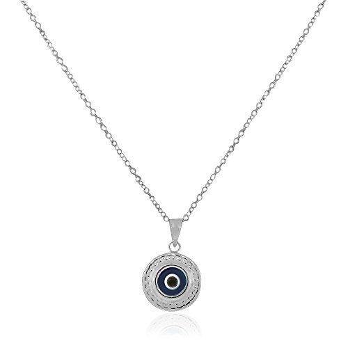 925 Sterling Silver Greek Key - 925 Sterling Silver Greek Key Dark Blue Glass Two-Sided Womens Evil Eye Pendant Necklace