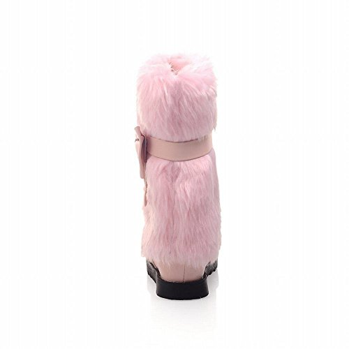 Comfort Style Bows Faux Boots Winter Pink Adjustable Fur Flat Womens Sweet Lucksender Snow Casual aUvwAFxx