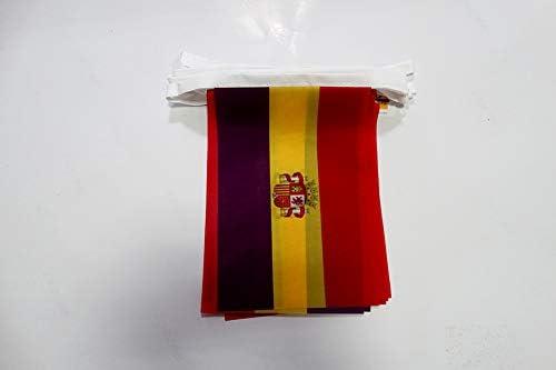 AZ FLAG Guirnalda 6 Metros 20 Banderas ESPAÑA Republicana con Escudo 21x15cm - Bandera DE LA Republica ESPAÑOLA 15 x 21 cm - BANDERINES: Amazon.es: Jardín