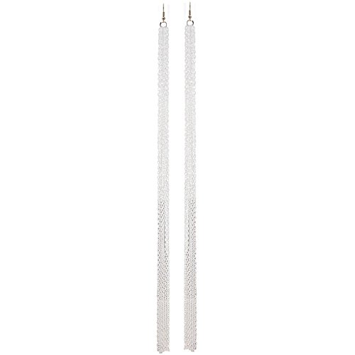 (Girlprops Shoulder Duster Chain Earrings, Made in USA!, 4 Row White Enameled Chain in White)