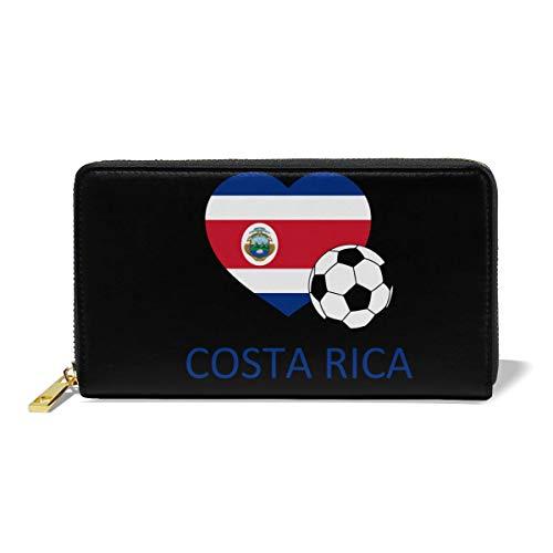 Hand Jinl Love Costa Rica Soccer Women Organizer Leather Wallet Clutch Long Purse