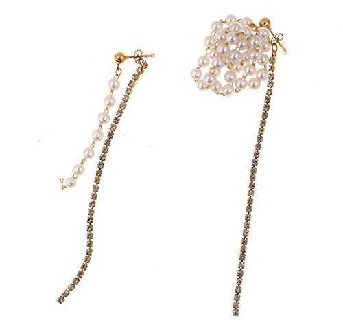 (JGarden Baroque Luxury Asymmetric Gold-plated Pearl cluster and Rhinestone Strand Front and Back Dangle Stud Earrings)