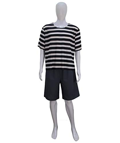 Men's Pugsley The Addams Family Black and White Striped Costume | TV/Movie -