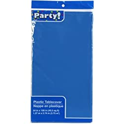 DTSC Imports Finger Ring FBA_14117717 Pack of 4: Plastic Rectangle Party Tablecloth Blue 54 X 108 Inches, 1