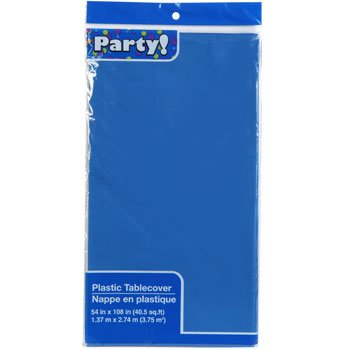 3-PACK DISPOSABLE PLASTIC TABLE COVERS / TABLECLOTHS (BLUE) -