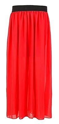 Forever Womens Plain Sheer Chiffon Elasticated Waist Long Maxi Skirt