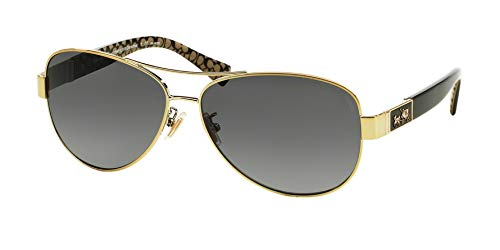 Coach Womens Christina Sunglasses (HC7047) Gold/Grey Metal - Polarized - 59mm