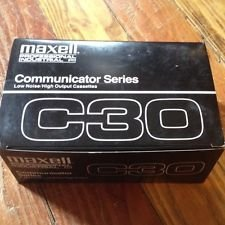 Box of 10 Maxell Professional Industrial Communicator Series Cassette Tapes C30 by Maxell