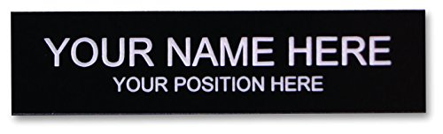 Office Desk Name Plate or Door Sign - Laser Engraved Signage Material - black