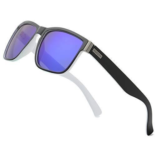 DUBERY Vintage Polarized Sunglasses for Men Women Retro Square Mirrored Lens Sun Glasses D518, Deep Blue ()