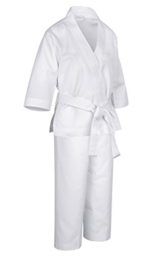 Kids Karate Uniform for Training with Belt Light Weight Elastic Waistband & Drawstring White