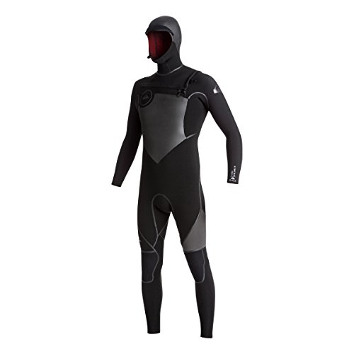 Quiksilver 5/4/3mm Syncro Chest Zip Hooded Men's Full Wetsuits - Black/Black/Jet Black/Large Tall